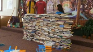 An awesome wall of book donations from East Bend Mennonite Church VBS!