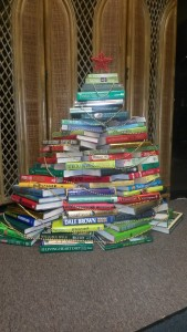 We used a variety of books in the outlet to make festive Christmas tree!